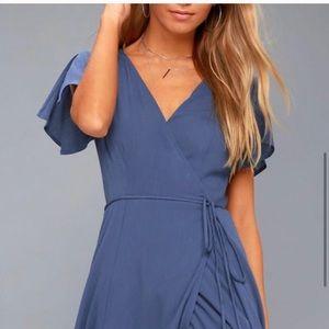 Lulu's blue wrap maxi dress